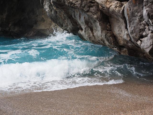 Sea wave beach, travel vacation.
