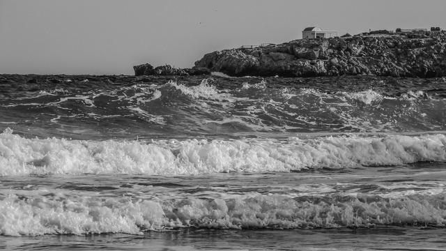 Sea waves scenery, travel vacation.