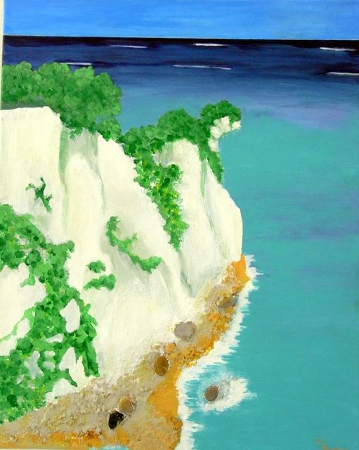 Sea white cliffs rock, industry craft.