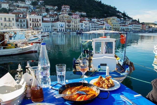 Seafood greece boat, nature landscapes.