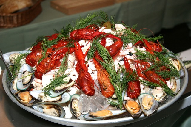 Seafood platter crayfish mussels.