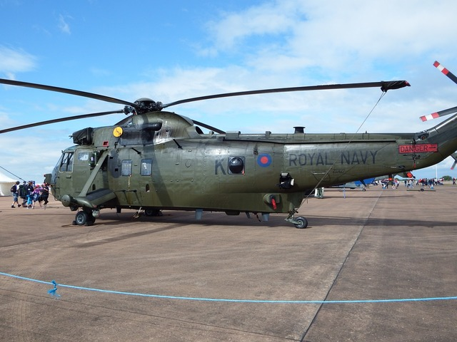 Seaking royal navy helicopter, transportation traffic.