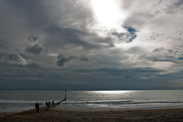 Seascape beach sunlight, travel vacation.