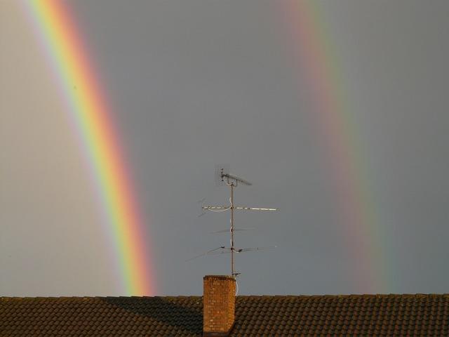 Secondary rainbow double rainbow view details, nature landscapes.