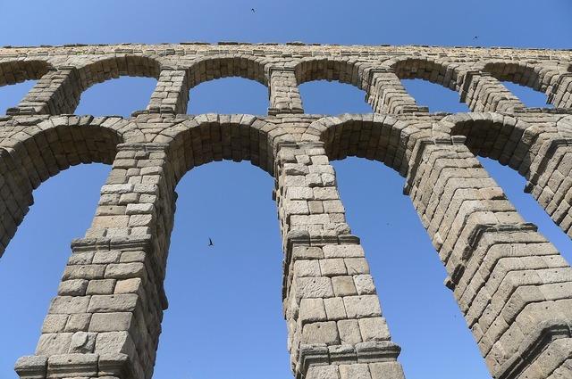 Segovia spain aqueduct, architecture buildings.