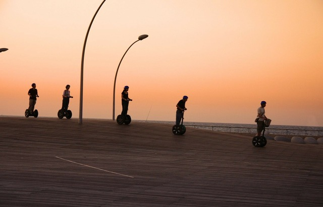 Segway group sunset, travel vacation.