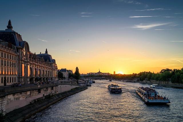 Seine river sunset paris, travel vacation.