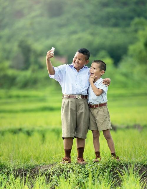 Selfie children phone, computer communication.