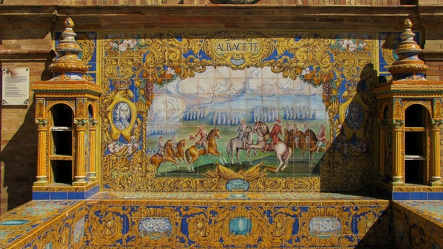 Sevilla azulejos decorative plates, places monuments.
