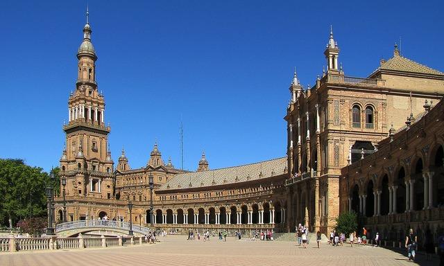 Sevilla children's spanish maria luisa park, architecture buildings.
