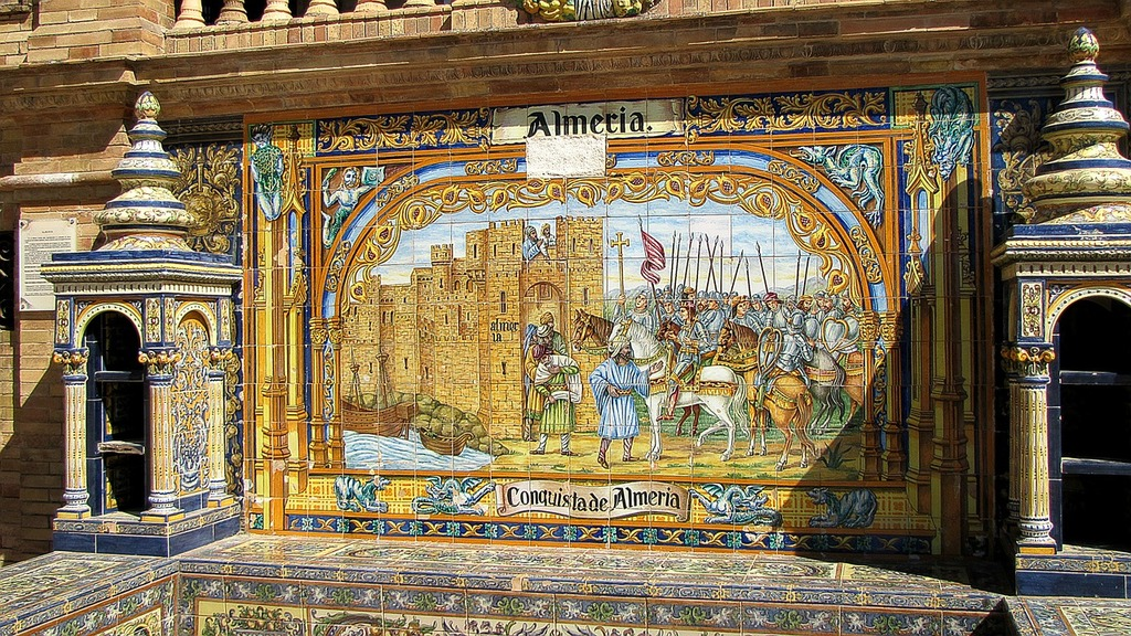 Sevilla coat of arms logo, places monuments.