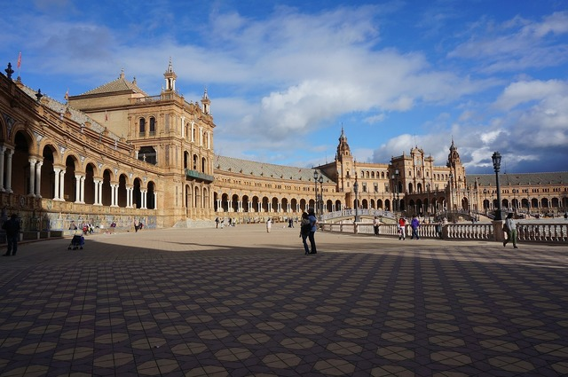 Sevillian plaza of spain gothic architecture, architecture buildings.