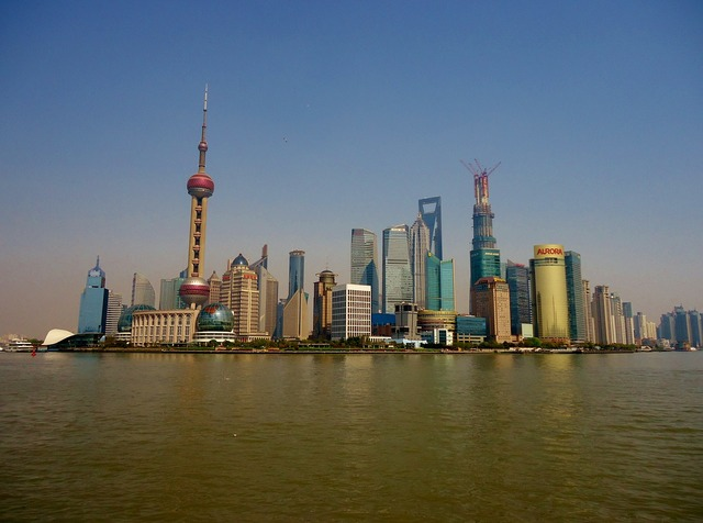 Shanghai china river, architecture buildings.