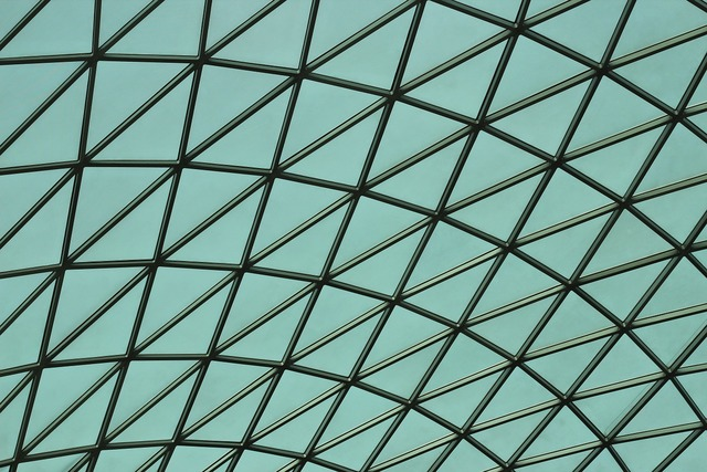 Shapes blue roof, architecture buildings.