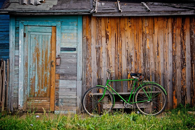 Shed bicycle bike, nature landscapes.
