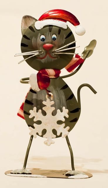 Sheet metal figure cat decoration, animals.
