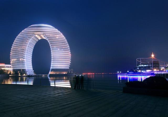 Sheraton huzhou night view, architecture buildings.