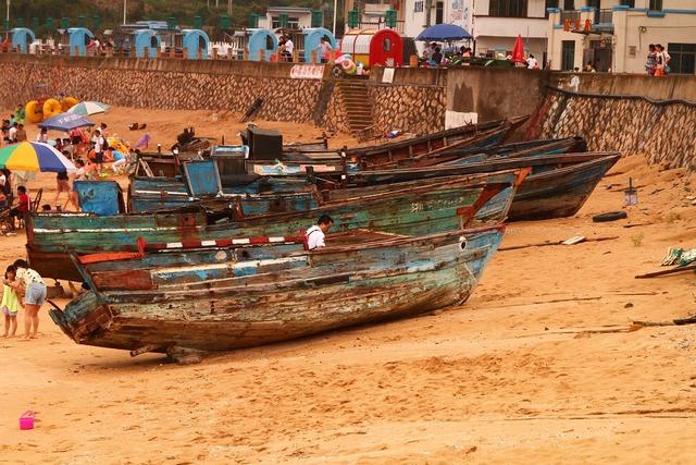 Ship old beach, travel vacation.