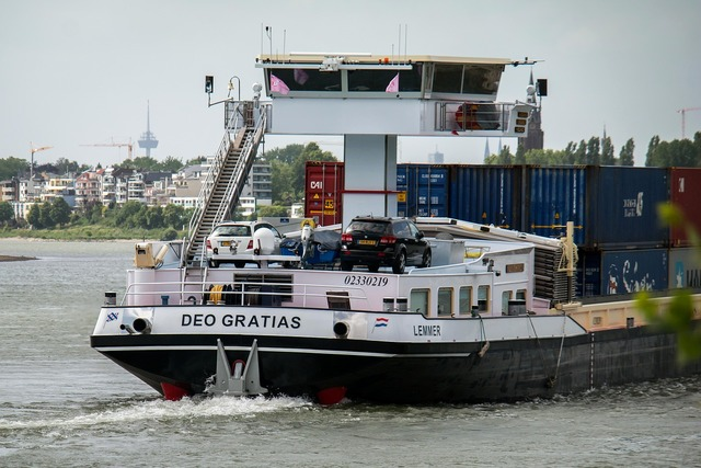 Ship rhine bridge, transportation traffic.