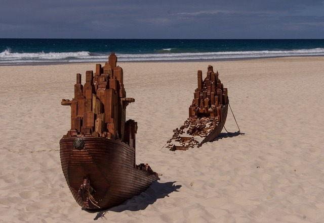 Shipwreck sculpture art, travel vacation.
