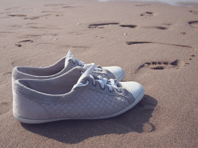 Shoes sneakers beach, travel vacation.