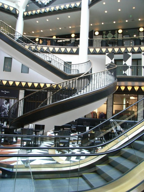Shopping arcade berlin stairs, architecture buildings.