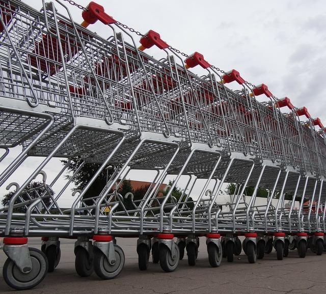 Shopping cart purchasing supermarket.