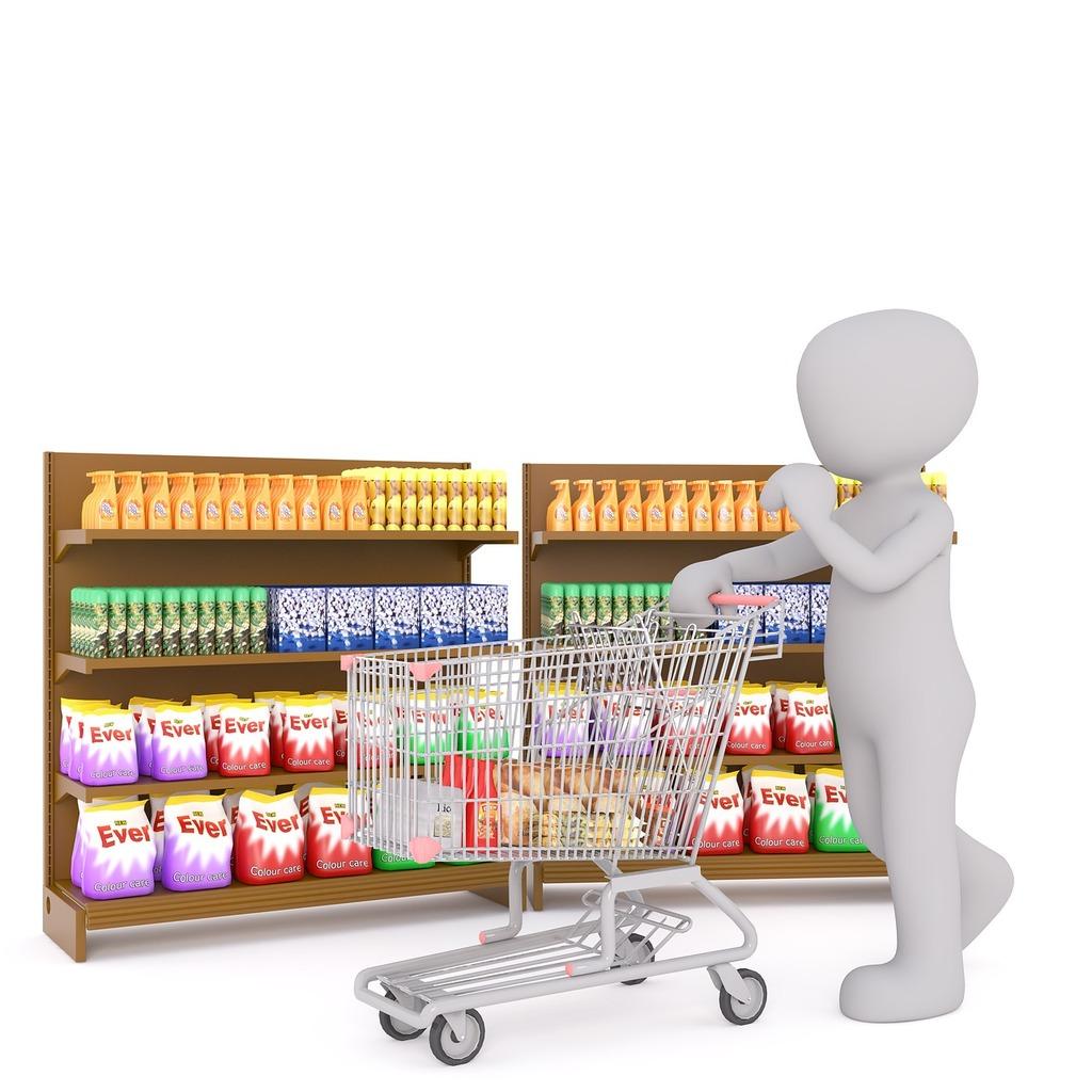 Shopping white male 3d model, business finance.