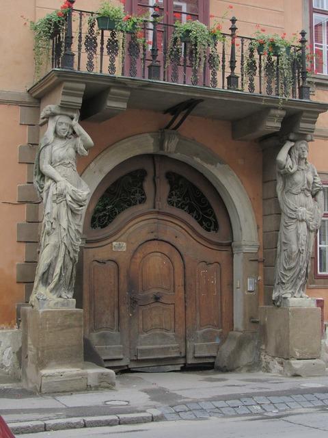 Sibiu transylvania house with caryatids, architecture buildings.
