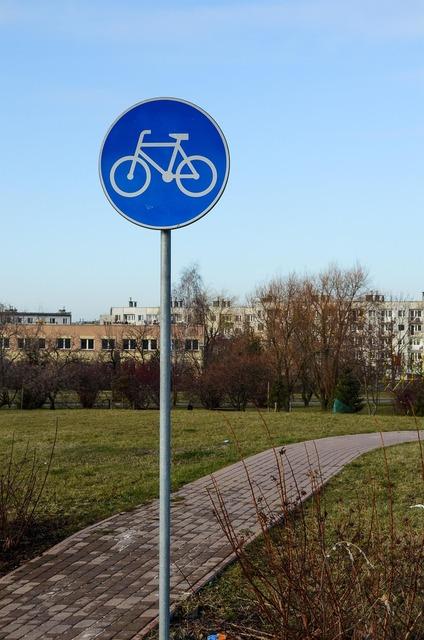 Sign bike road, transportation traffic.