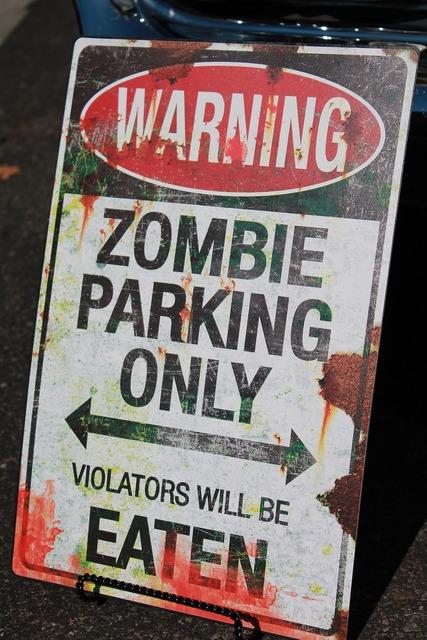 Sign zombies halloween.