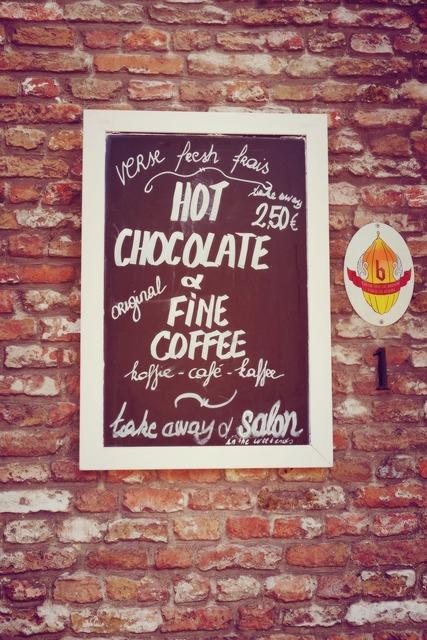 Signage chocolate sign.