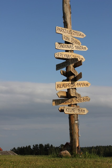 Signpost wooden direction, transportation traffic.