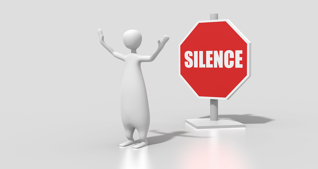 Silence sign character, computer communication.