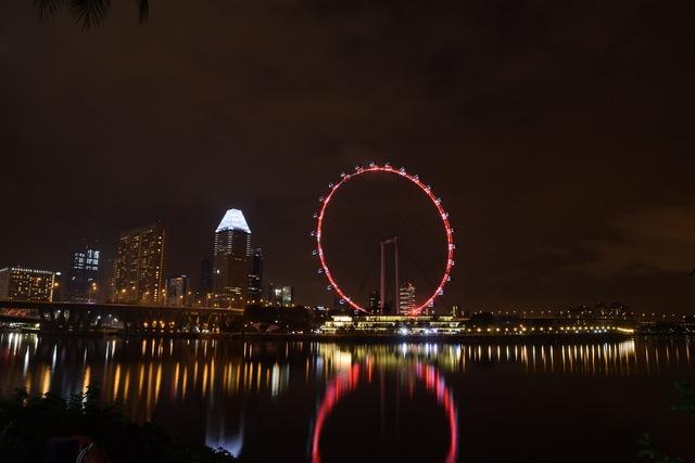 Singapore night river.