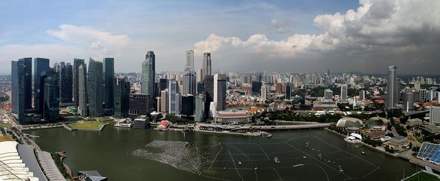 Singapore panorama skyscraper, architecture buildings.