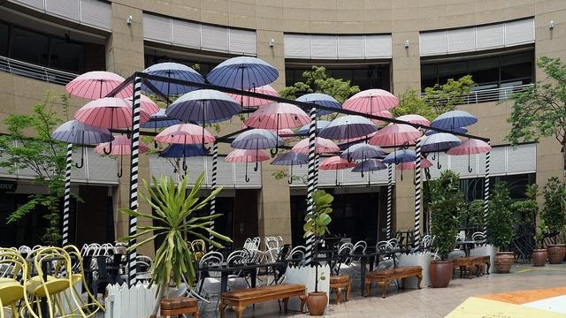 Singapore parasols courtyard.