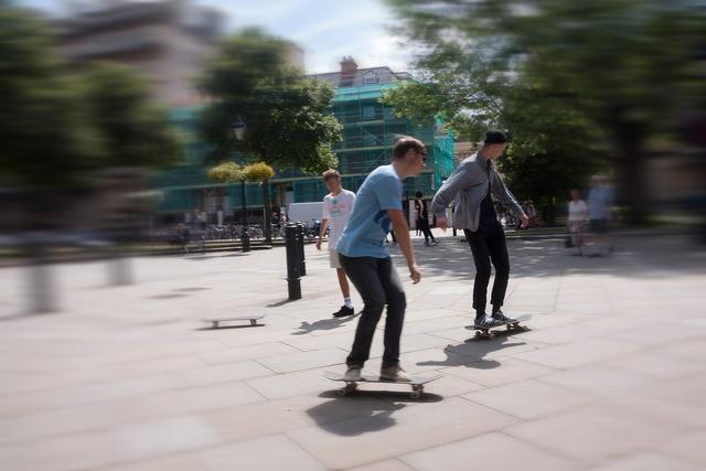 Skateboard roll move, sports.