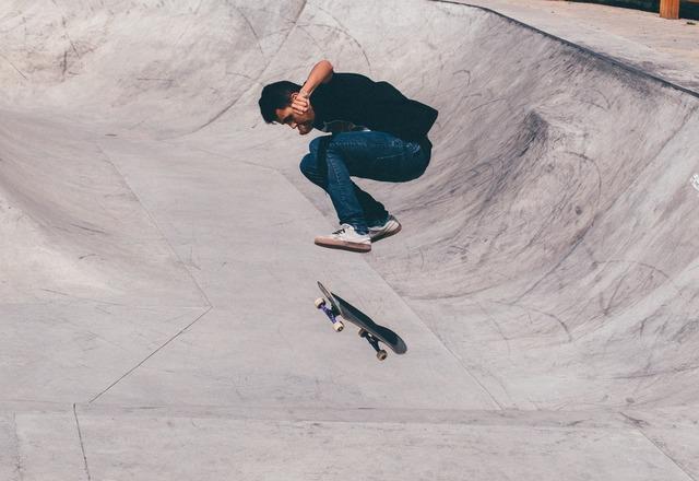 Skateboarder half-pipe skateboard, sports.