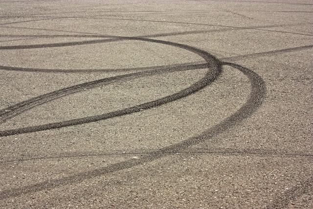 Skid mark asphalt road, transportation traffic.