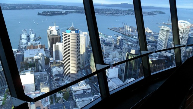 Sky city tower view harbour new zealand.