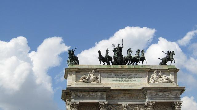 Sky monument horses, architecture buildings.