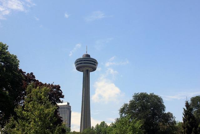 Sky needle niagara falls downtown, architecture buildings.