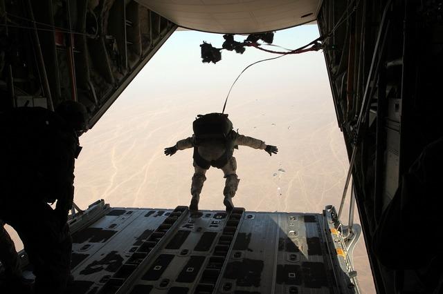 Skydiver parachuting free fall.