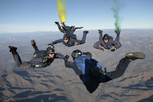 Skydiving free fall team, sports.