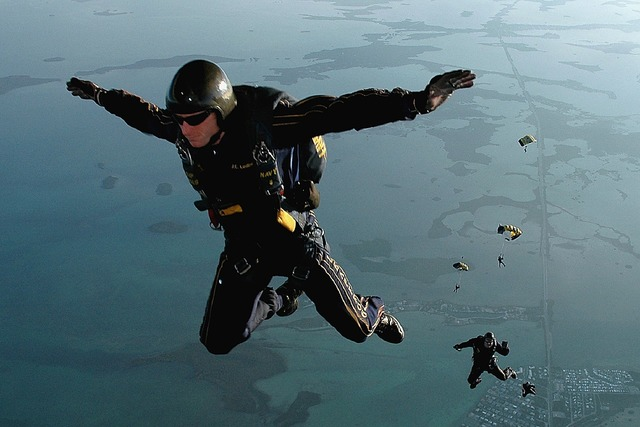 Skydiving jump falling, people.