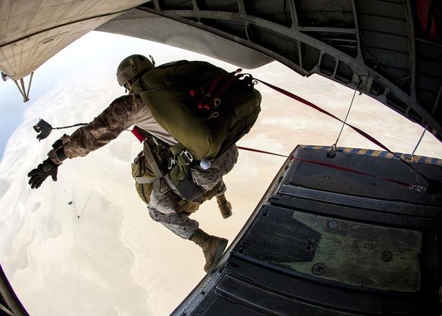 Skydiving jump marine, people.