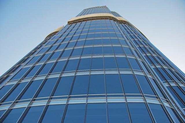 Skyscraper building glass front, architecture buildings.