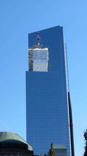 Skyscraper one world trade center mirroring, architecture buildings.