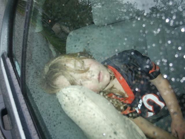 Sleeping young girl, people.